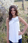 high neck tank in cream