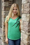 Italian vines tee in leaf green