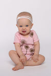 dandelion wishes onesie in cotton candy pink