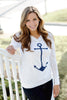 anchor hoodie in white