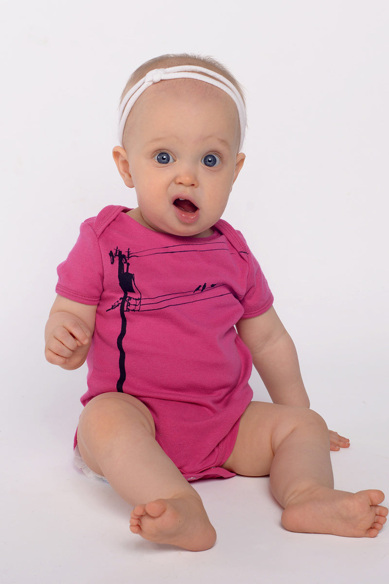 katiebirds onesie in hot pink