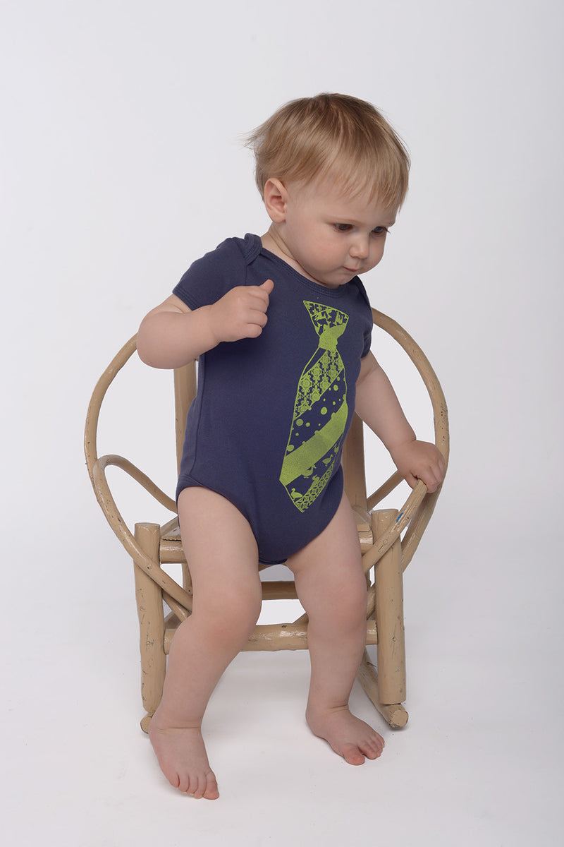 necktie onesie in navy blue