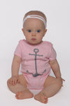 anchor onesie in cotton candy pink