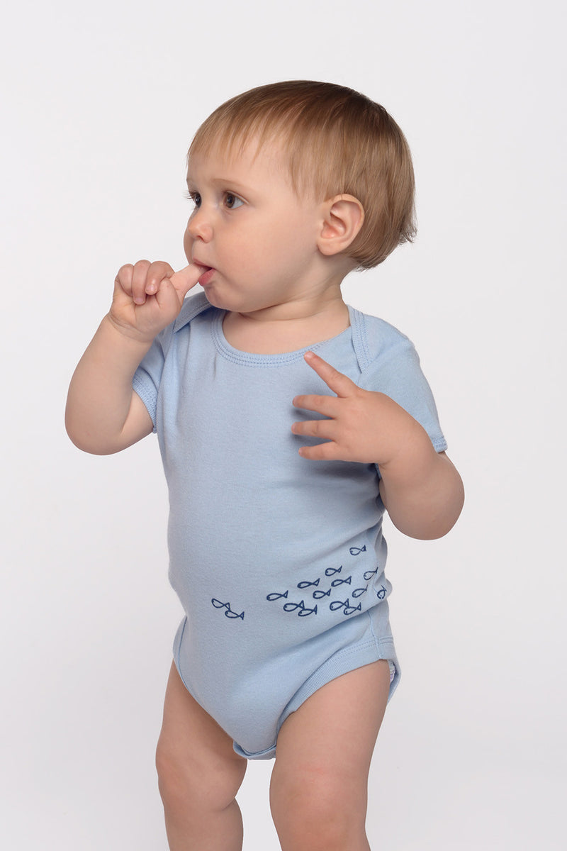 just keep swimming onesie in baby blue