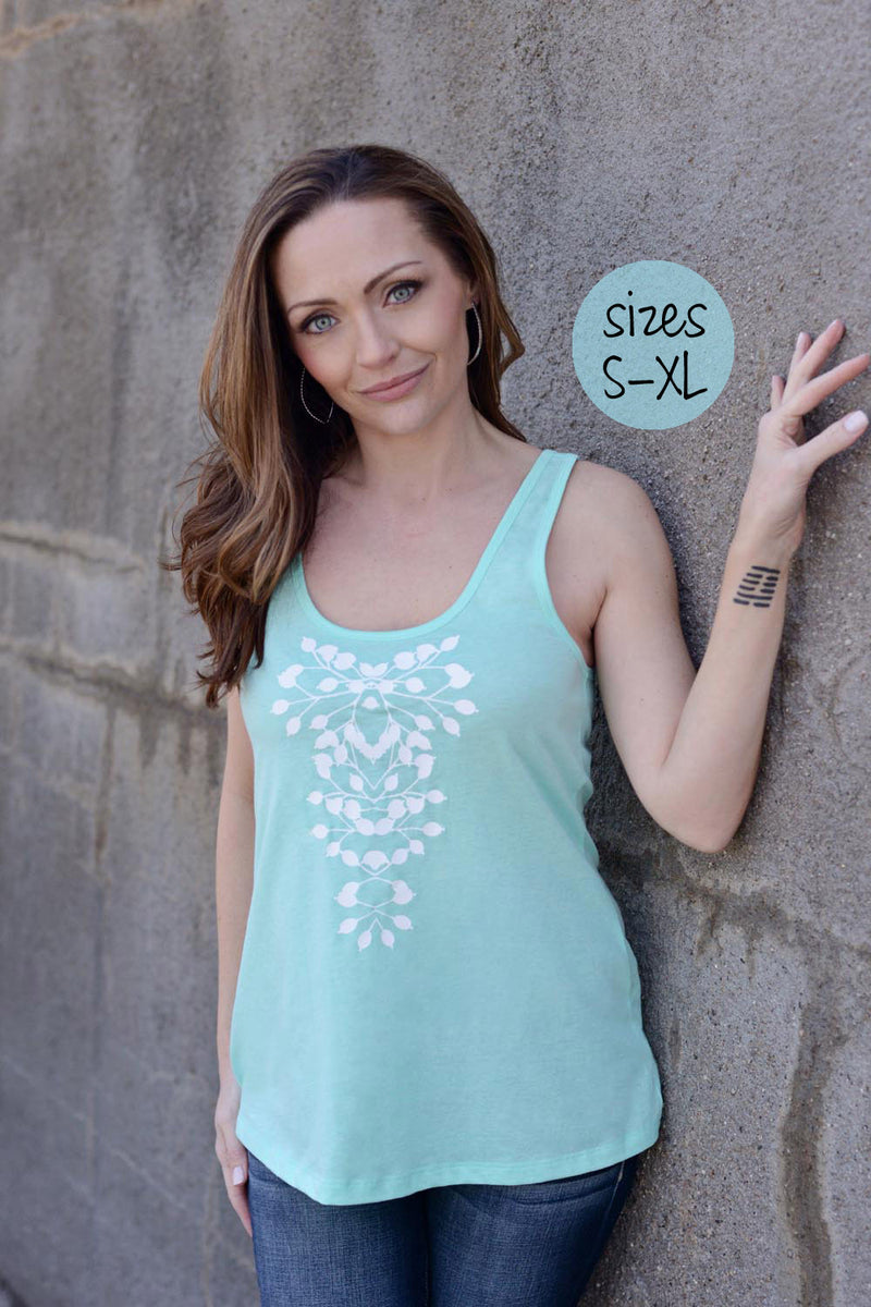the statement necklace tank in mint green