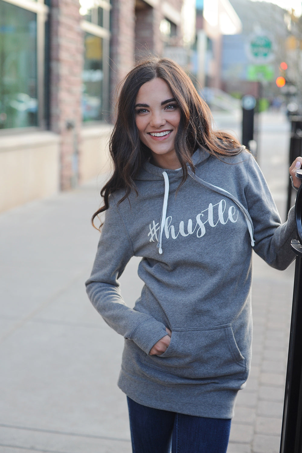 #hustle tunic length sweatshirt