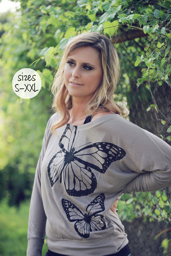 flutterby long sleeve tee in mocha
