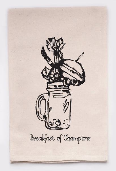 breakfast of champions - flour sack tea towel