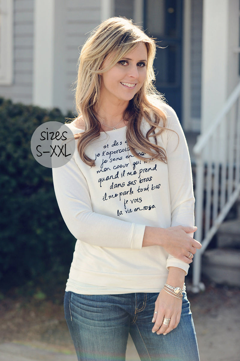 la vie en rose long sleeve tee in ivory