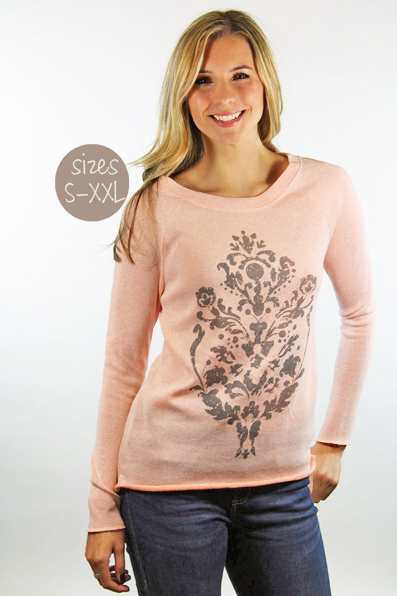 damask sweater in peach