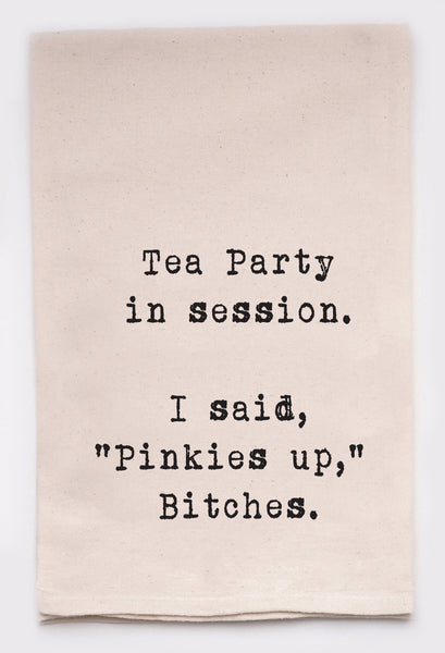 tea party in session  - flour sack tea towel