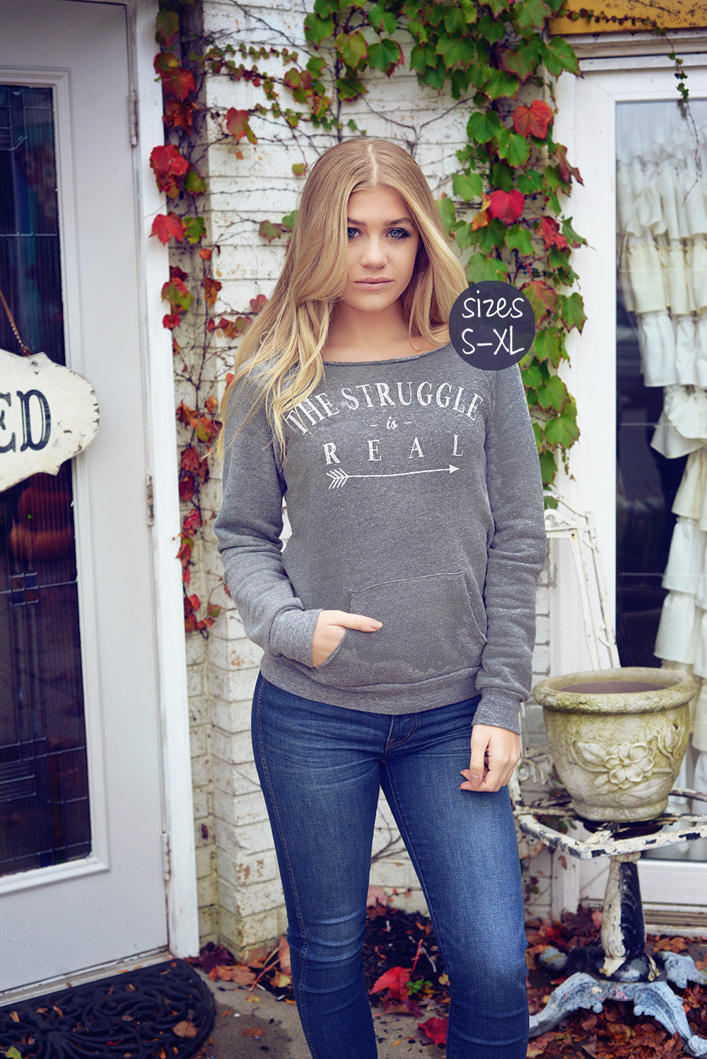 the struggle is real sweatshirt in gray