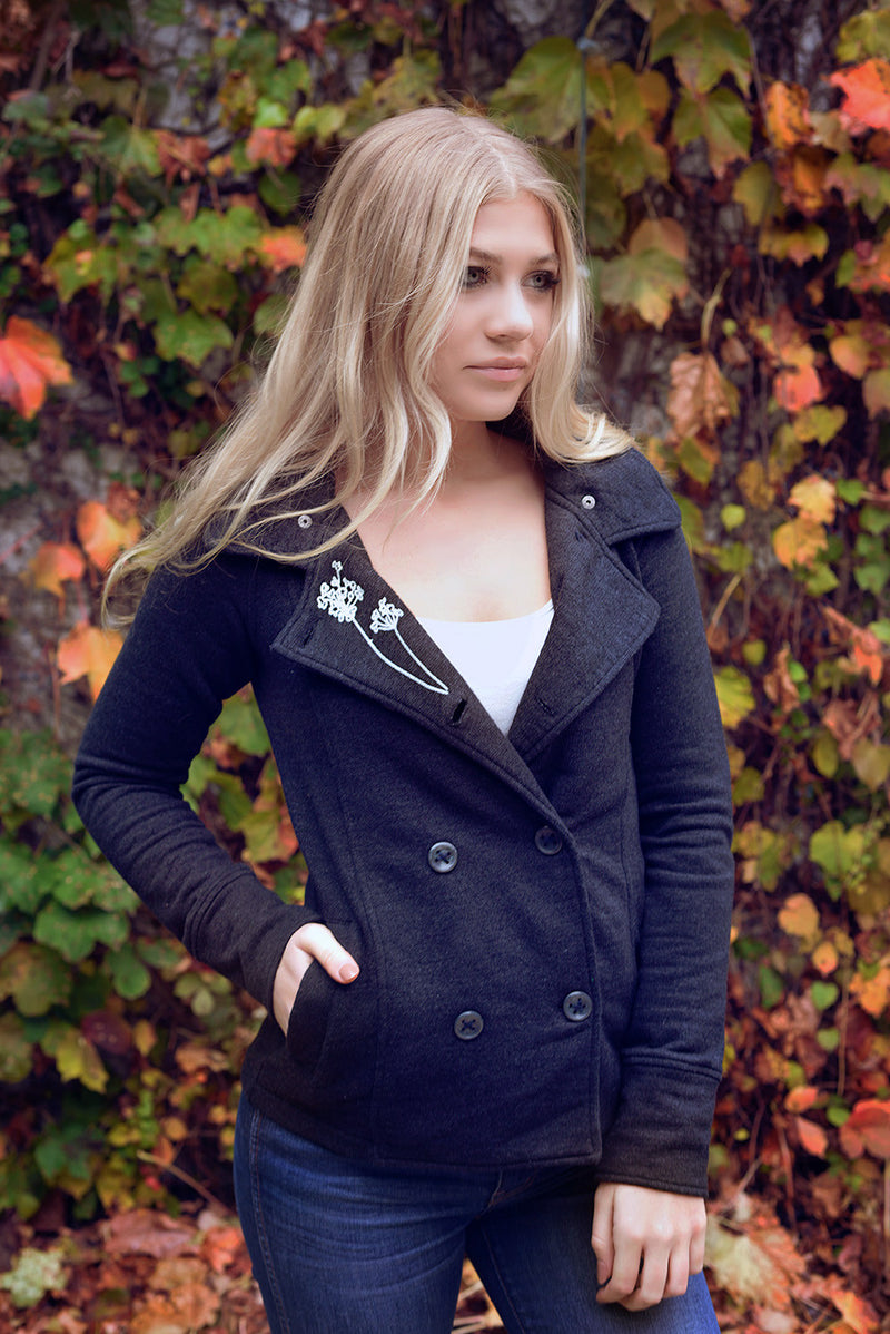 pretty printed pea coat with detachable hood
