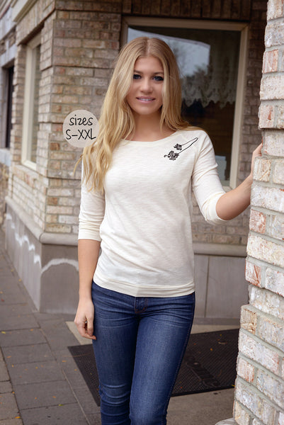 lace back 3/4 sleeve tee in cream