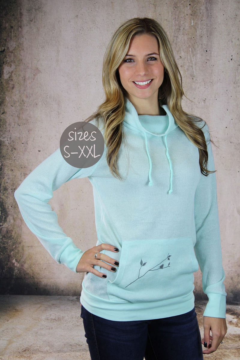 cowl neck sweater in mint