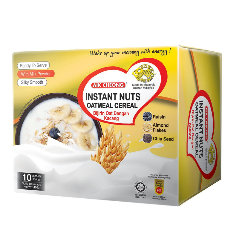 Aik Cheong Instant Oatmeal Cereal - Box of 10 x 40g