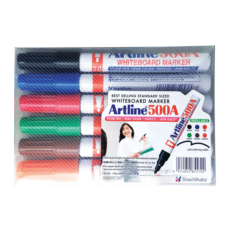 Artline 500A Whiteboard Marker Pen Bullet Tip - Wallet of 6