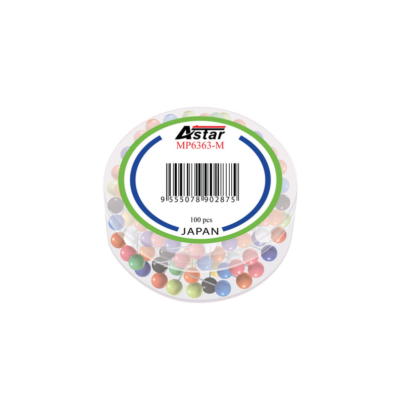 Astar Assorted Color Map Pins 6mm - Pack of 100