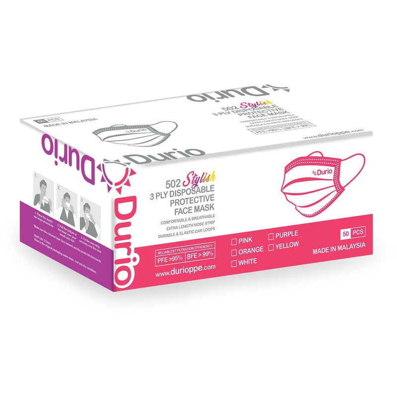 Durio 3Ply Stylish Facemask - Box of 50
