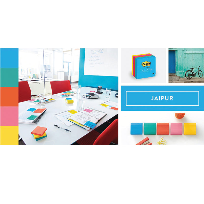 Post-It Jaipur Collection Assorted Colour Notes 76X76mm - Pack of 5