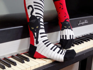 Piano Cat (Mismatched) - Knee Highs by Modsocks