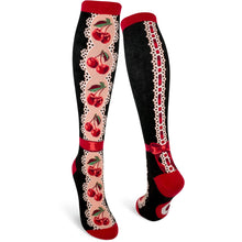 Load image into Gallery viewer, Cherries and Lace - Knee Highs by Modsocks