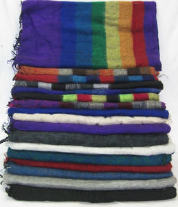 Nepalese Made Wool Throw - Purple Blue Stripe