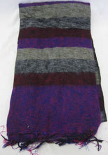 Load image into Gallery viewer, Nepalese Made Wool Throw - Purple Brown Grey Stripe