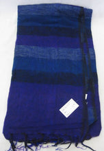 Load image into Gallery viewer, Nepalese Made Wool Throw - Purple Blue Stripe