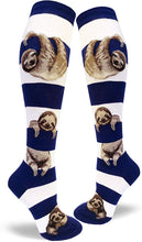 Load image into Gallery viewer, Striped Sloth - Navy and White - Knee Highs by Modsocks