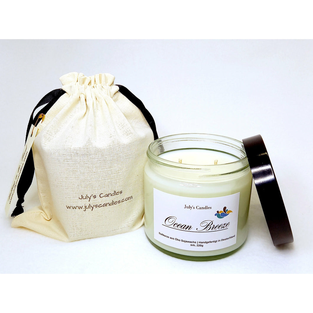 Ocean Breeze, 2-Docht Duftkerze 220g - July's Candles