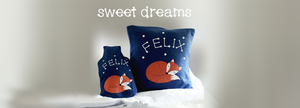 Personalised fox cushions are an ideal gift for children. Their name is a constellation of glow in the dark stars.