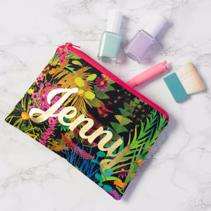 tropical fabric make up bag