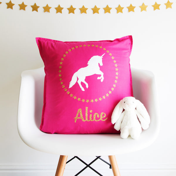 Personalised Sparkly Unicorn Cushion