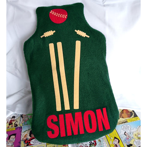 Cricket personalised hot water bottle cover