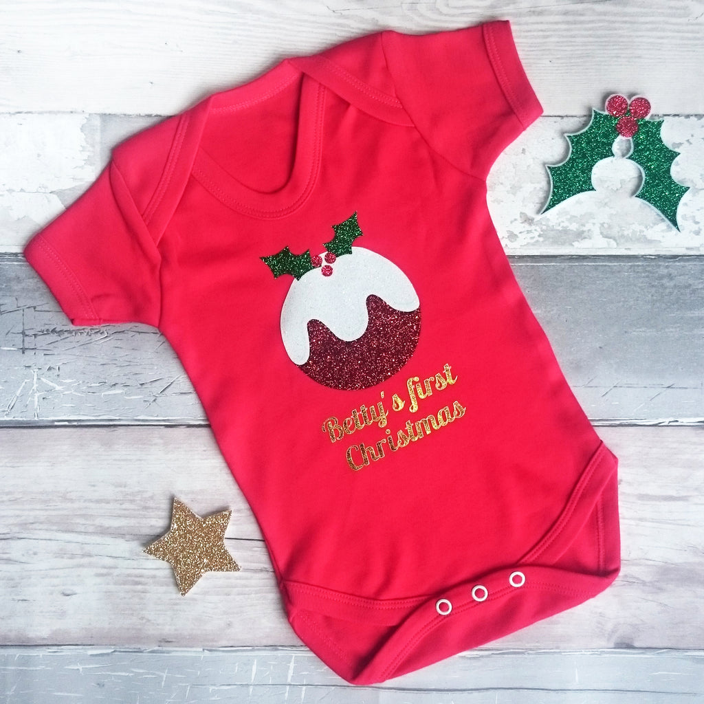 06d2c16efcf0 Personalised Pudding  First Christmas  Babygrow – nickynackynoo