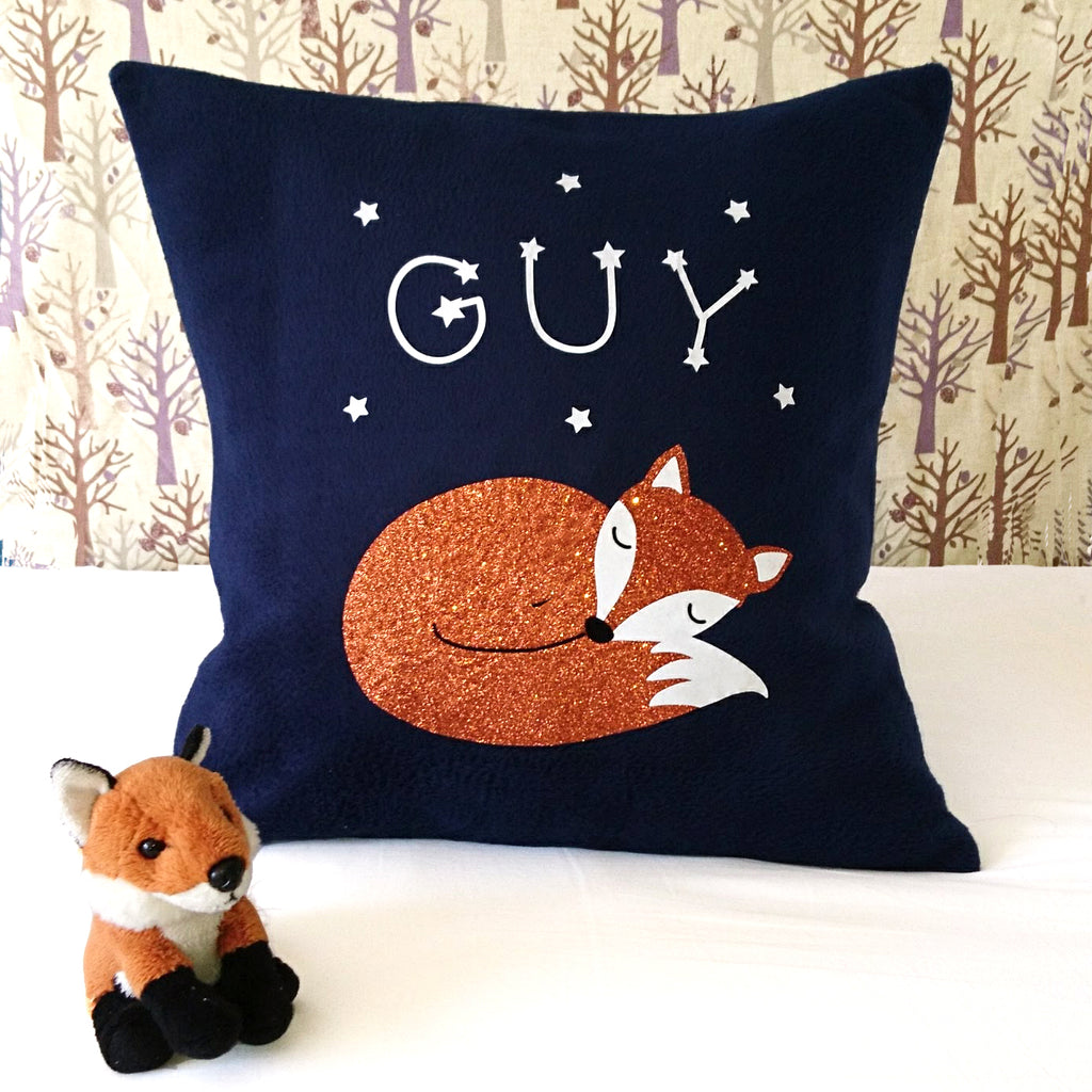 Sleeping fox cub cushion