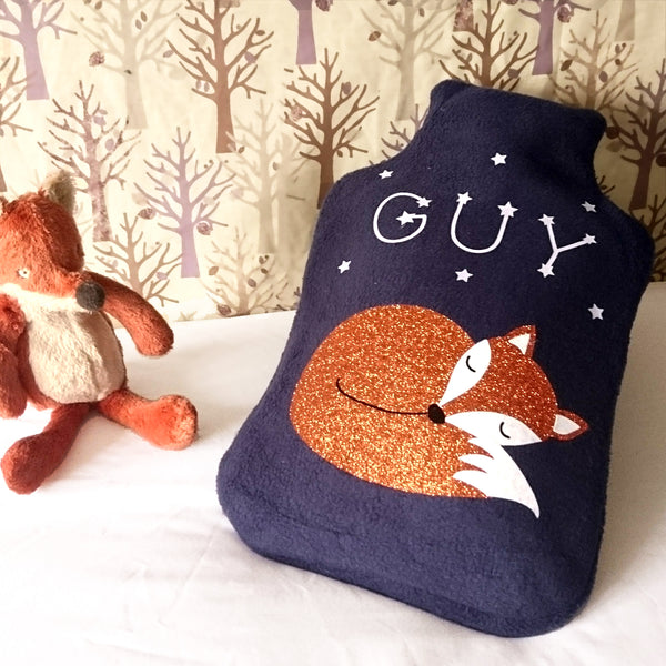 Woodland creatures fox hot water bottle cover