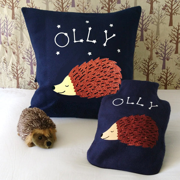 Hedgehog personalised cushion with glow in the dark stars