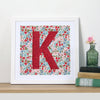 Liberty fabric floral monogram nursery print