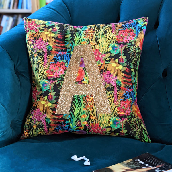 Tropical Liberty Fabric Personalised Cushion Gift