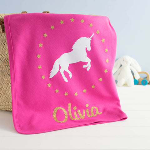 Personalised Sparkly Unicorn Baby Blanket