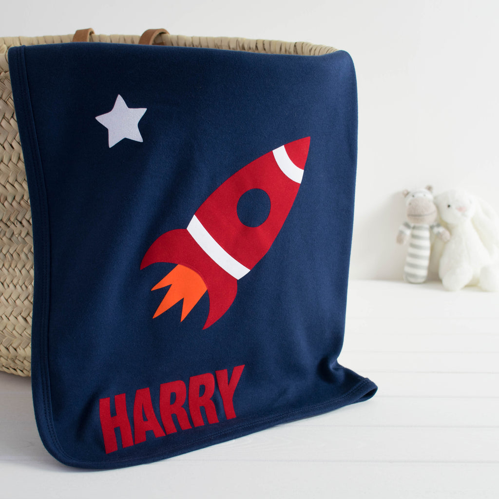 space rocket baby blanket