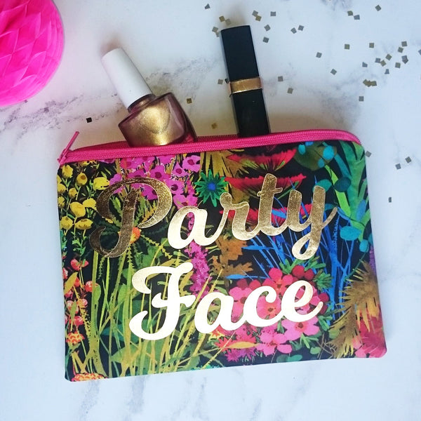tropical and gold make up pouch
