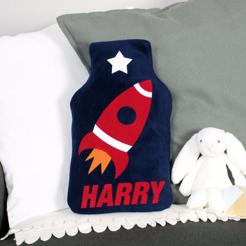 Space rocket hot water bottle cover
