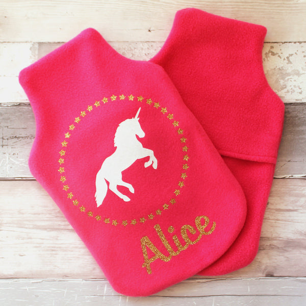 Personalised Sparkly Unicorn Hot Water Bottle Cover