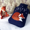 Sleeping fox cub hot water bottle cover