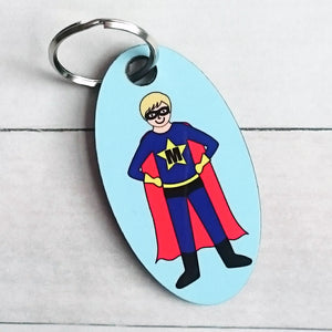 Superhero Personalised key ring or bag tag