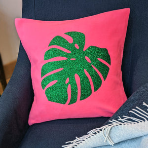 Monstera Fluorescent Glitter Cushion Gift