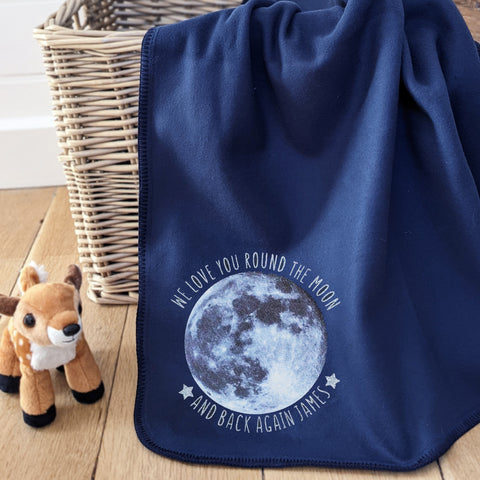 Moon personalised baby blanket